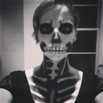 Black and white photo of halloween 2014 makeup yellow feather blog