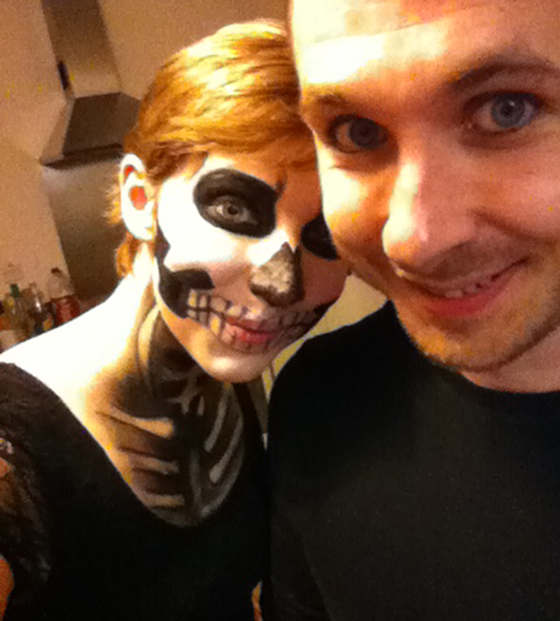 Couples halloween photo skeleton makeup yellow feather blog