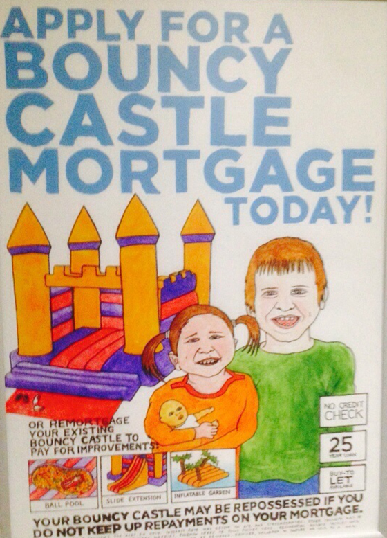 Dismaland pocket money loans bouncy castle mortgage poster yellow feather blog