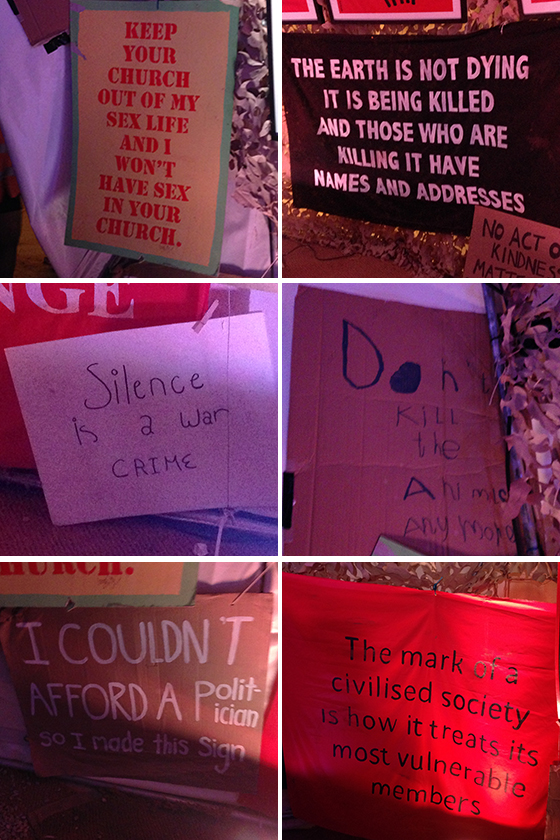 Dismaland protest banners yellow feather blog