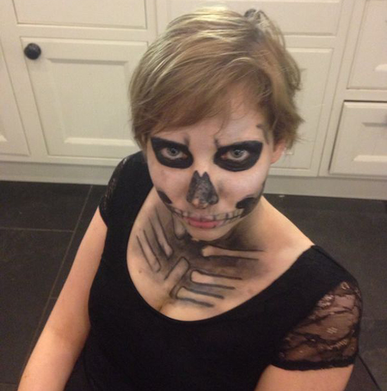 Halloween skeleton makeup 2014 yellow feather blog
