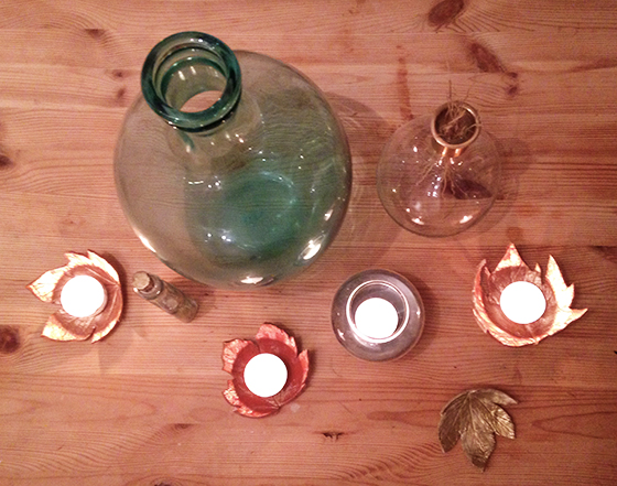 DIY Autumn leaf tea light holder tutorial the results