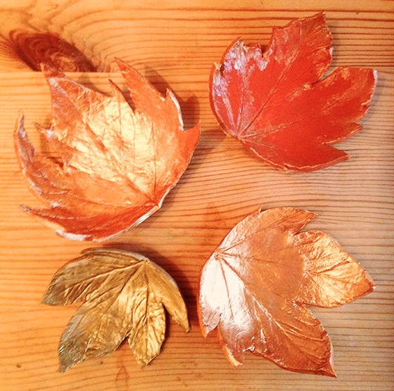 DIY Autumn leaf tea light holders