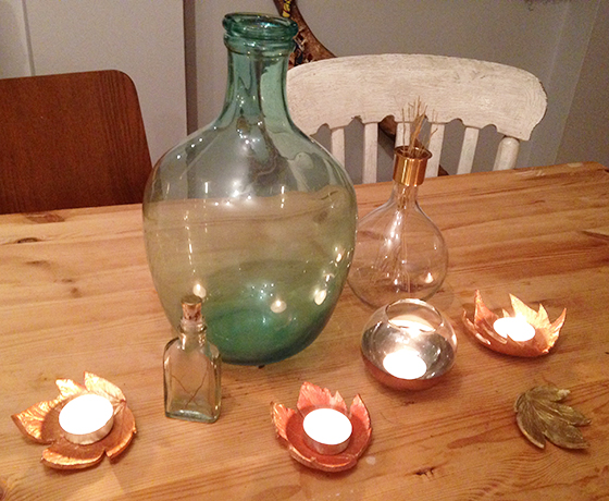 DIY Autumn leaf tea light holders tutorial results