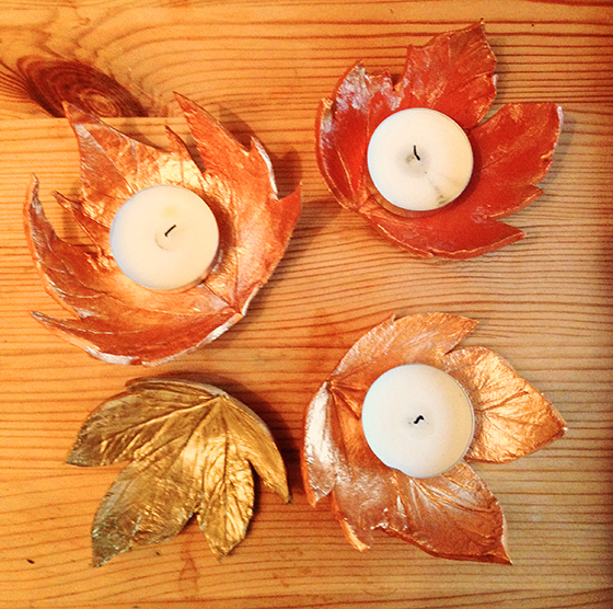 DIY Autumn leaf tea light holders tutorial