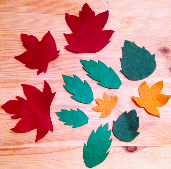 DIY Autumn leaf tutorial: cut our felt leaves - yellow feather blog