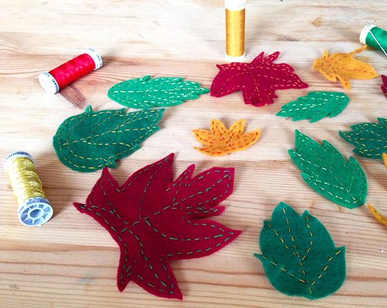 DIY autumn wreath: finished embroidered leaves - yellow feather blog