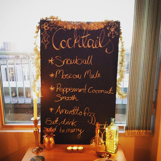 Cocktail bar menu display