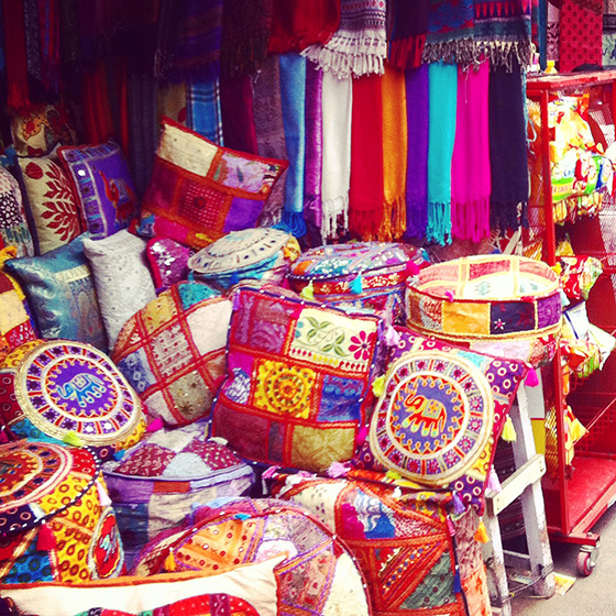 Beautiful embroidered textiles in Pushkar India