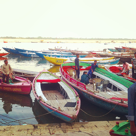 Colourful boats on the Ganges in Varanassi India
