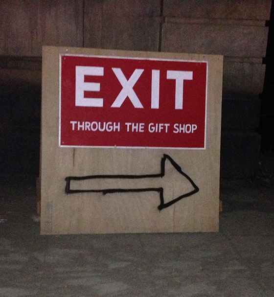 Exit through the gift shop dismaland sign