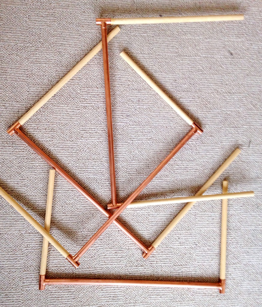 Assembled copper tube and dowel DIY decorative ladder