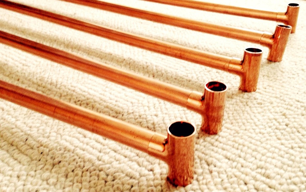 Copper pipes with Tee fittings