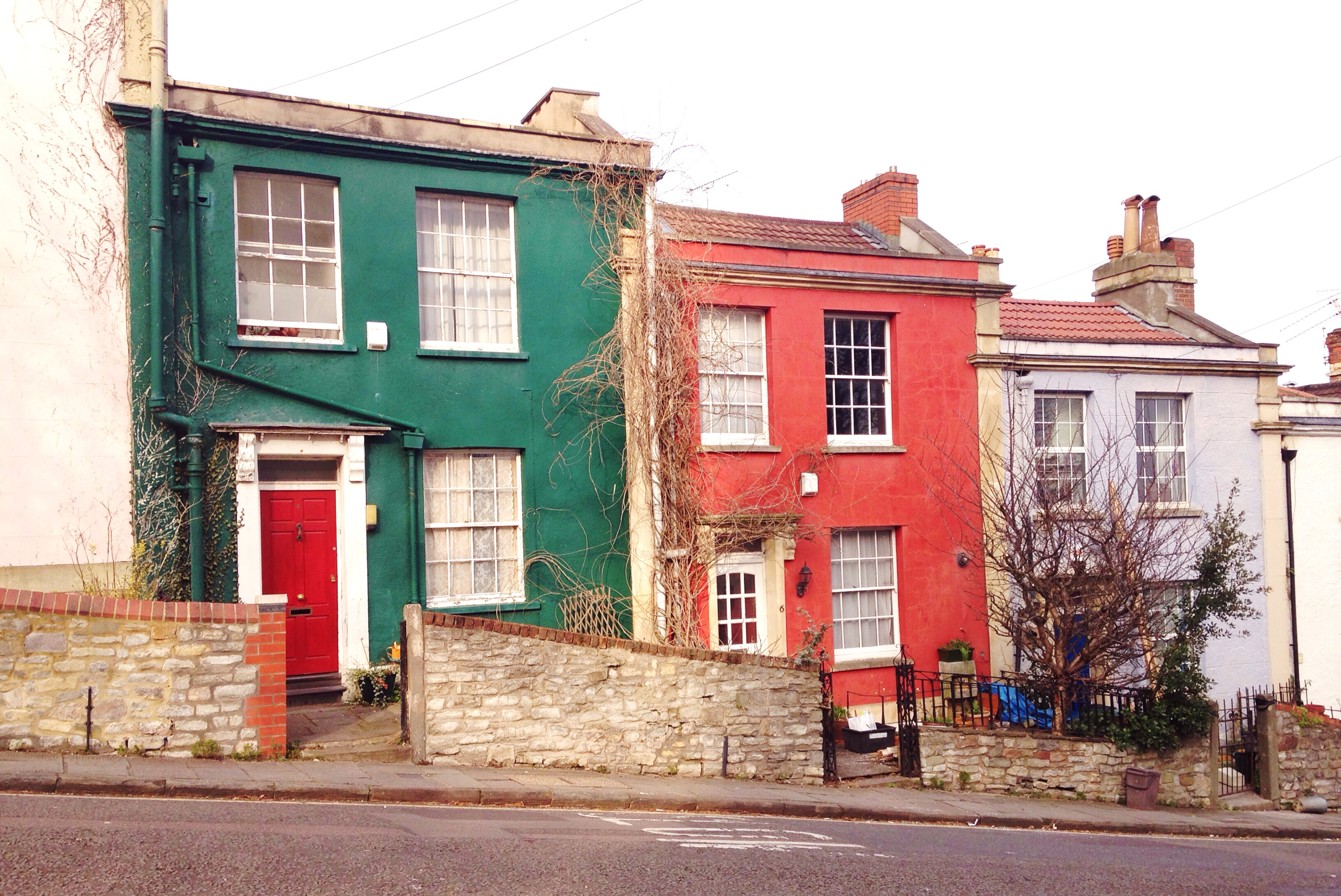 Green And Red Painted Houses Kingsdown Bristol