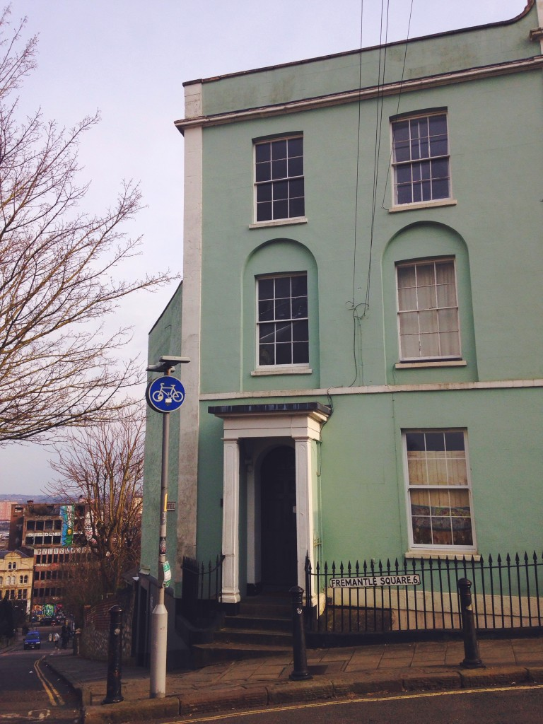 Mint green painted house in Kingsdown Bristol