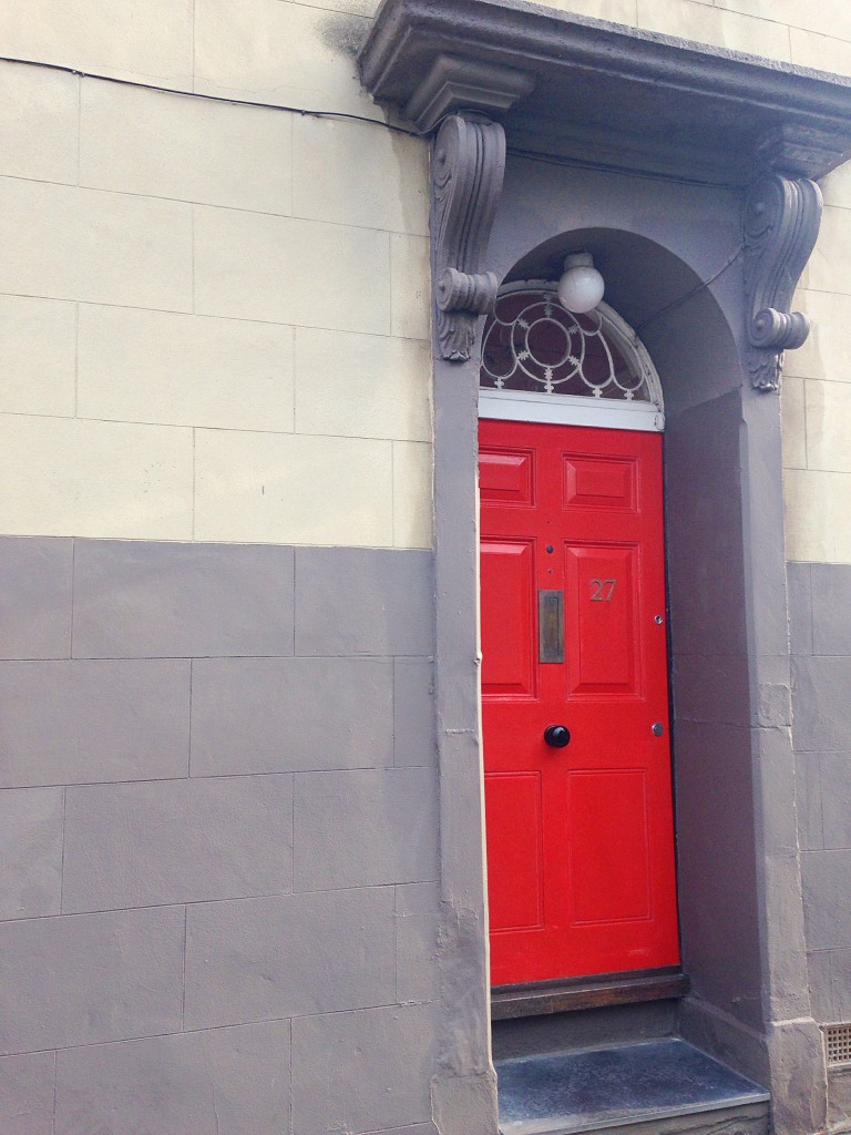 Red painted door with grey coving in Kingsdown Bristol