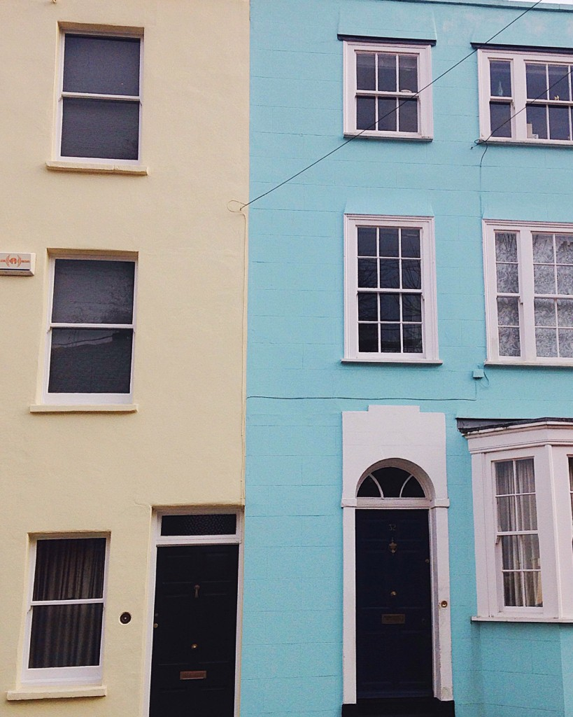 Turquoise and yellow painted houses in Kingsdown Bristol