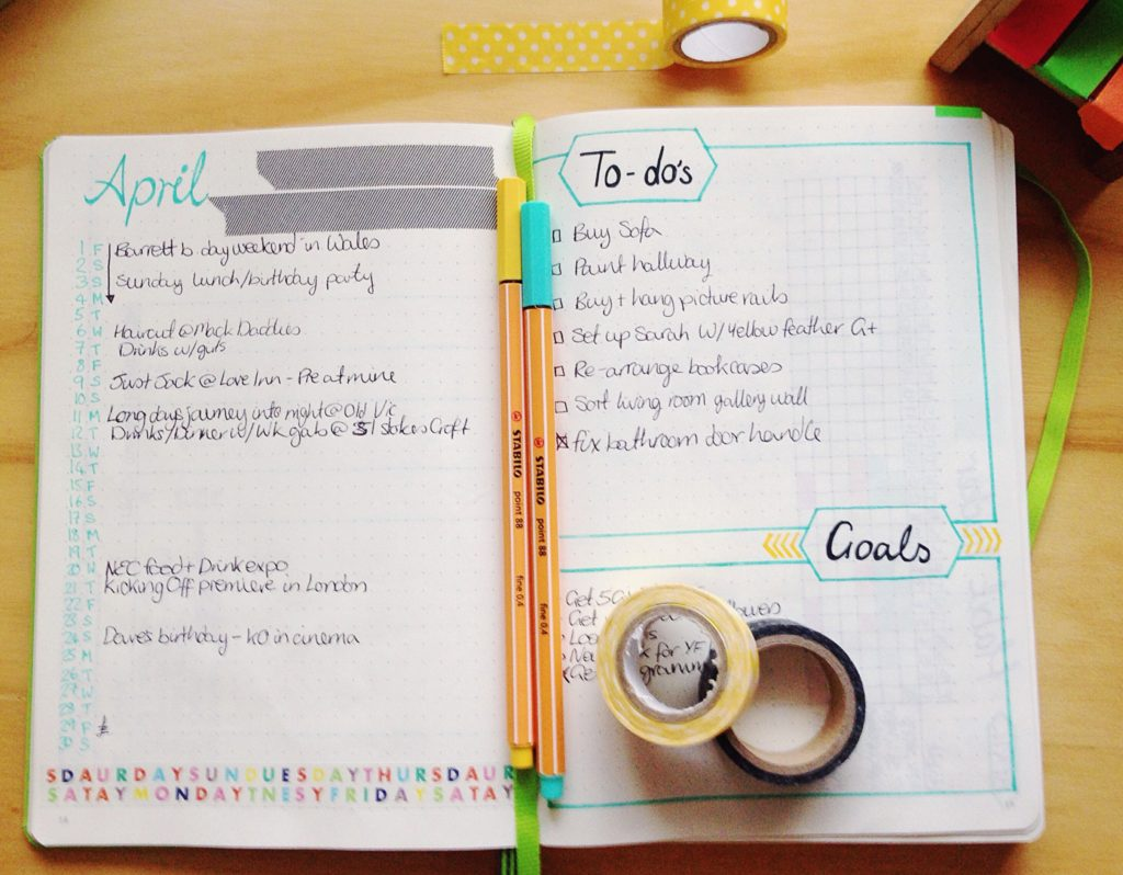 Bullet journal spread monthly calendar to dos and goals page