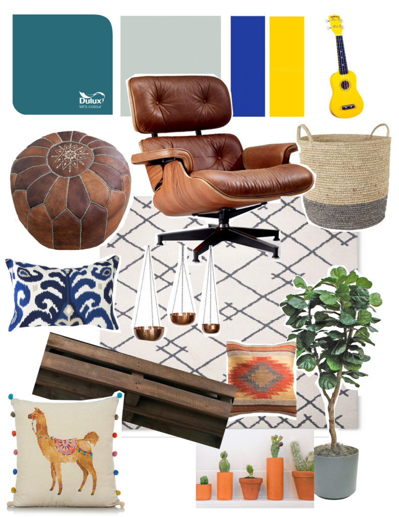 Living room colour story and moodboard
