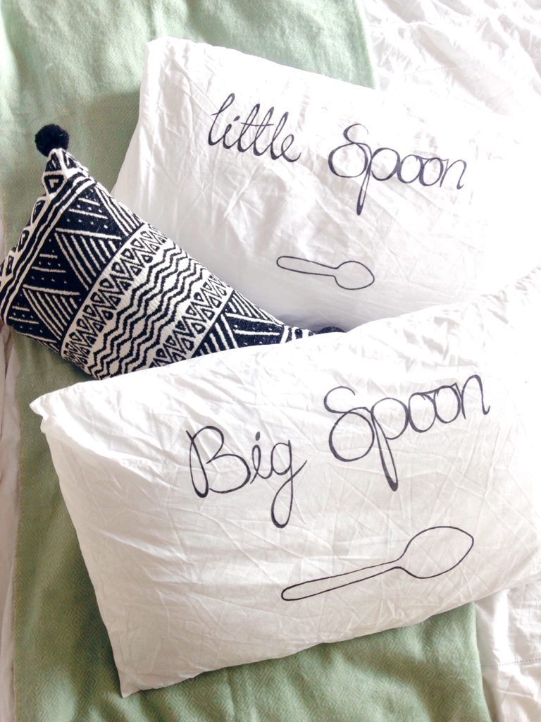 DIY your own Big and Little spoon pillow cases on Yellow Feather blog