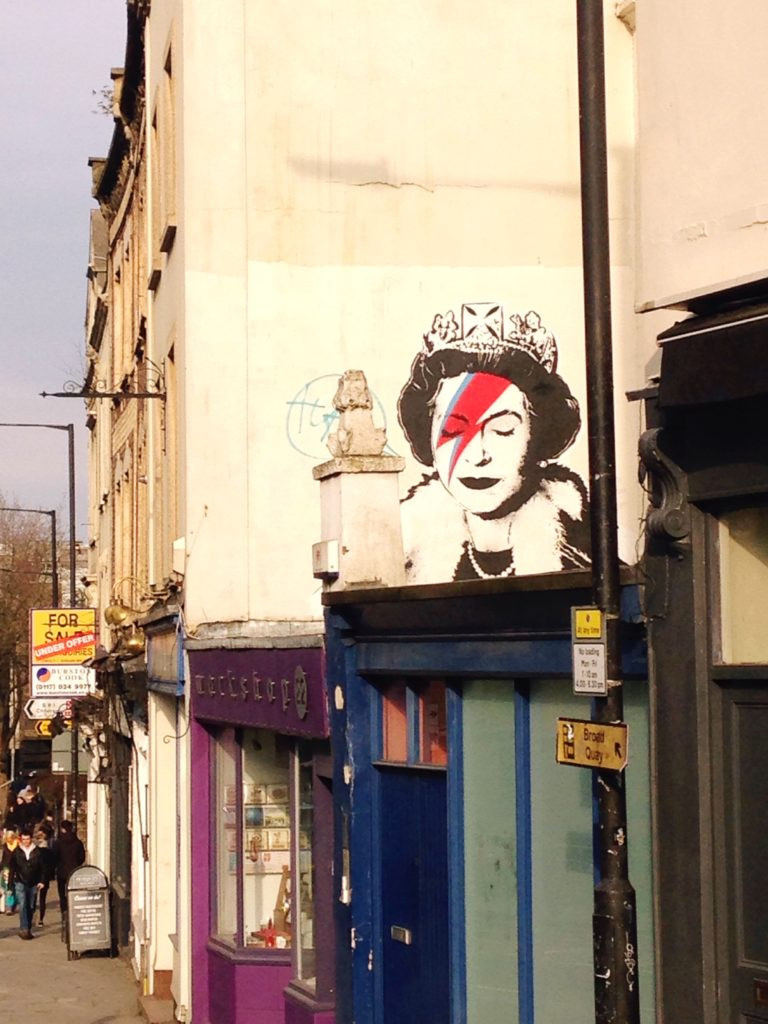 David Bowie Queen Elizabeth II graffiti bristol