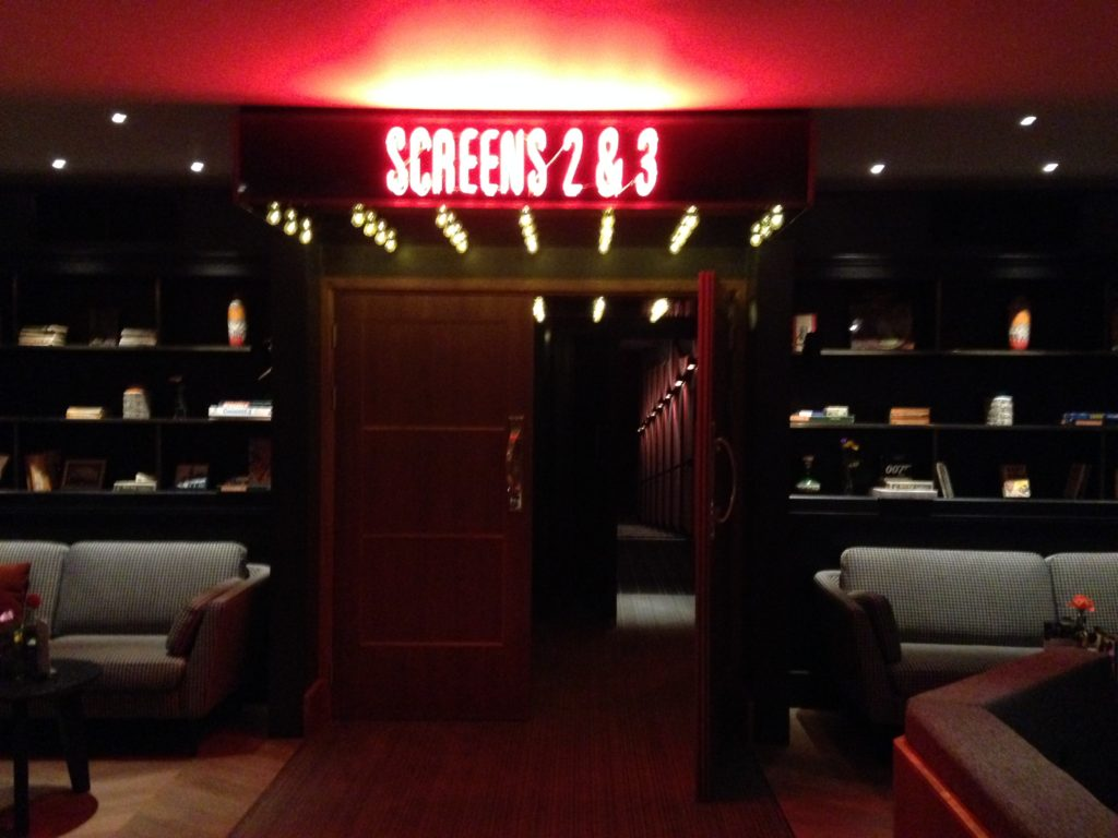 Neon screen signs in Everyman Cinema Bristol
