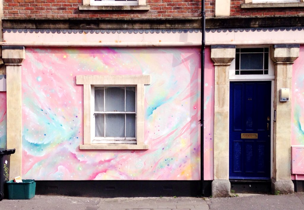 Pastel galaxy street art in stokes croft bristol
