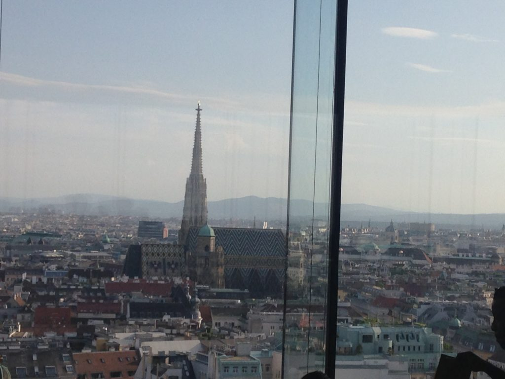 City skyline from Sofitel Vienna Stephansdom - Das Loft Restaurant