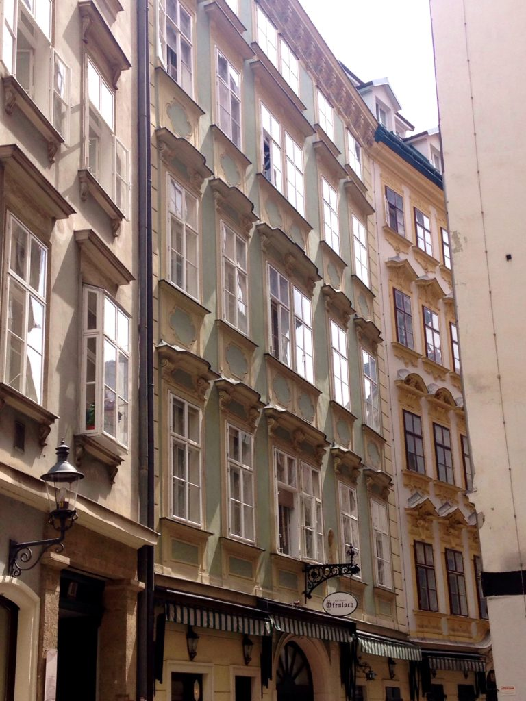 Pastel painted houses in Vienna sidestreets