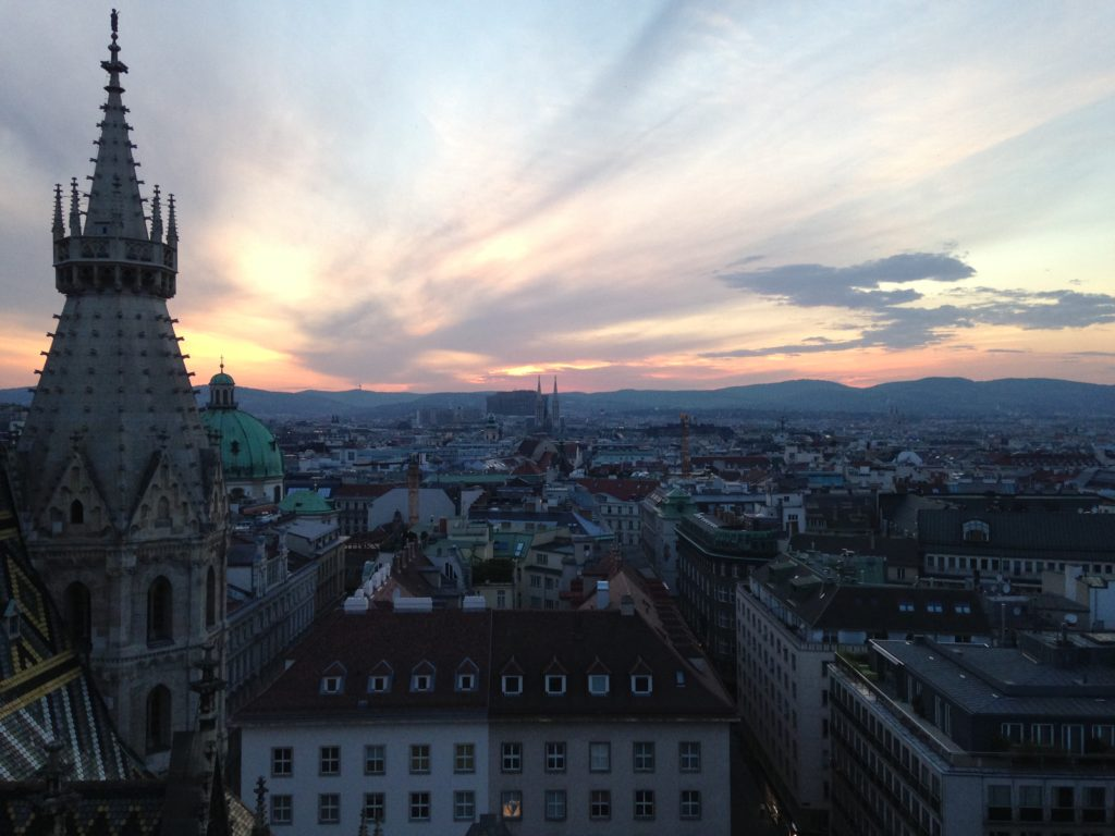 View of Vienna from the roof of St Stephens Cathedral