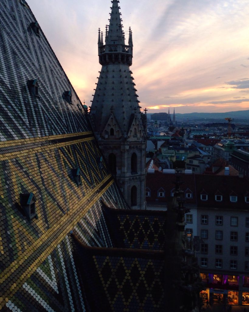 View of the Vienna skyline from St Stephens Cathedral roof