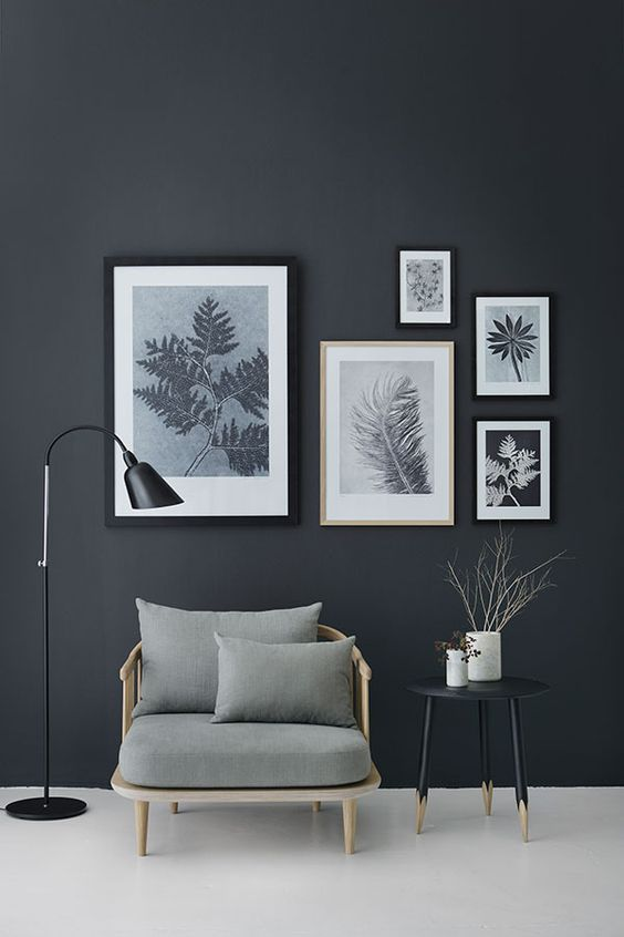 Monotone gallery wall on black background - How to add art to your home