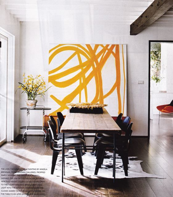 Striking abstract yellow art against white wall - How to add art to your home