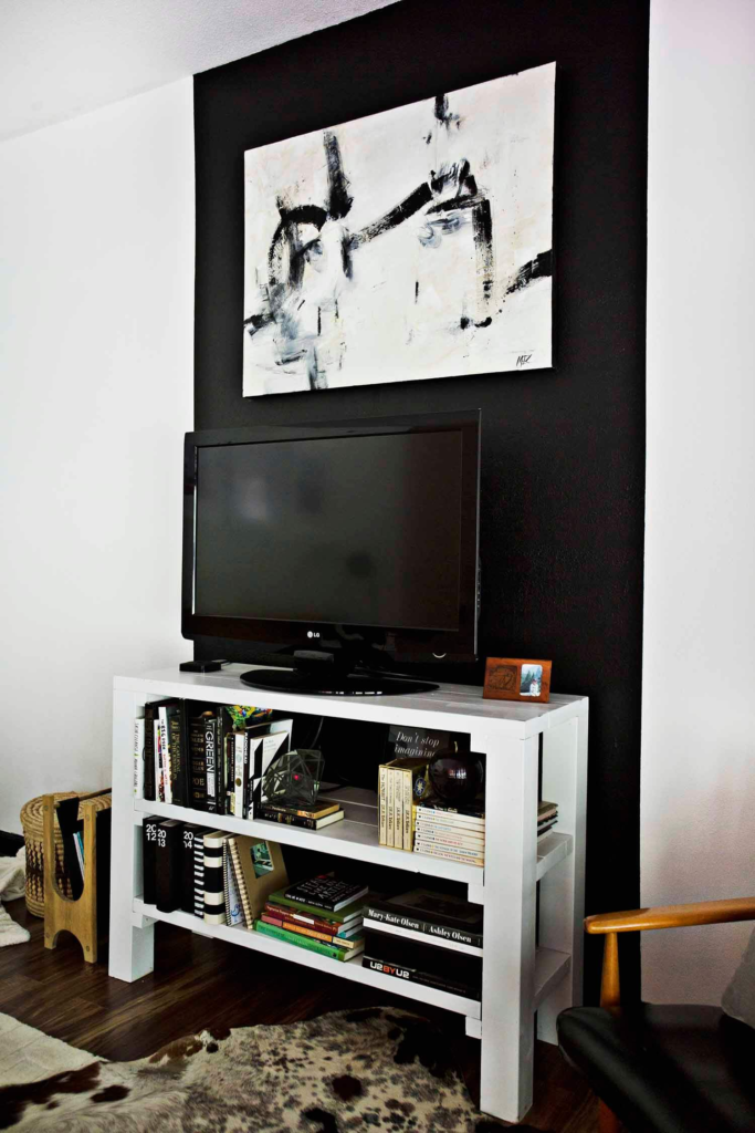 Black striped feature wall with abstract art - How to add art to your home