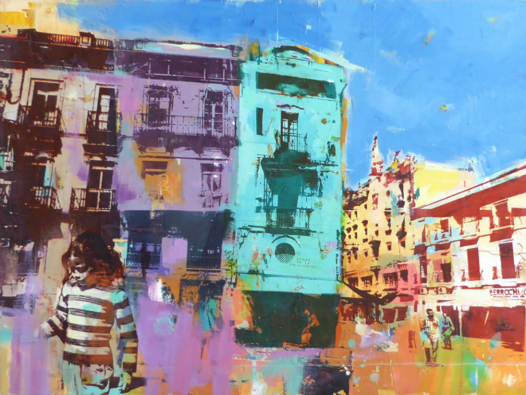 Dan Parry Jones' unique mixed media process blends photography, screen-printing and drawing in the beautiful 'Balconies, Seville'