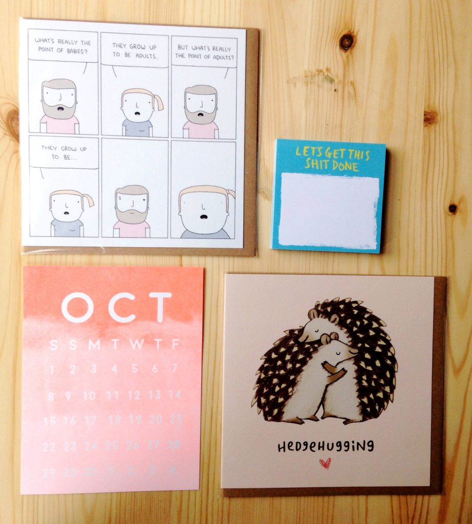 Cute cards, funny post it notes and neon orange ombre watercolour calendar from Septembers Papergang stationery subscription box