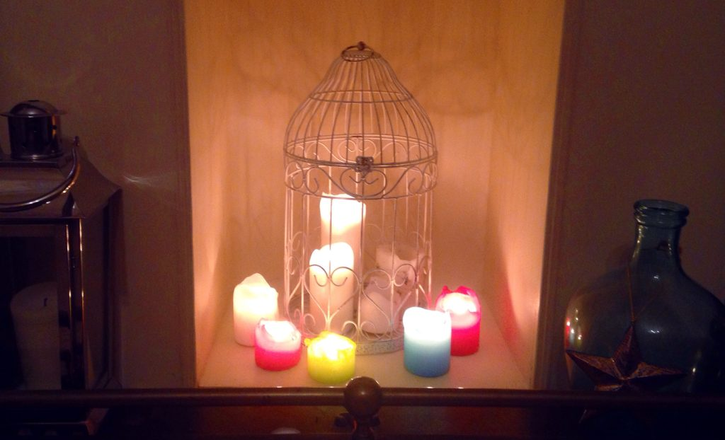 fireplace candle set up candles in birdcage