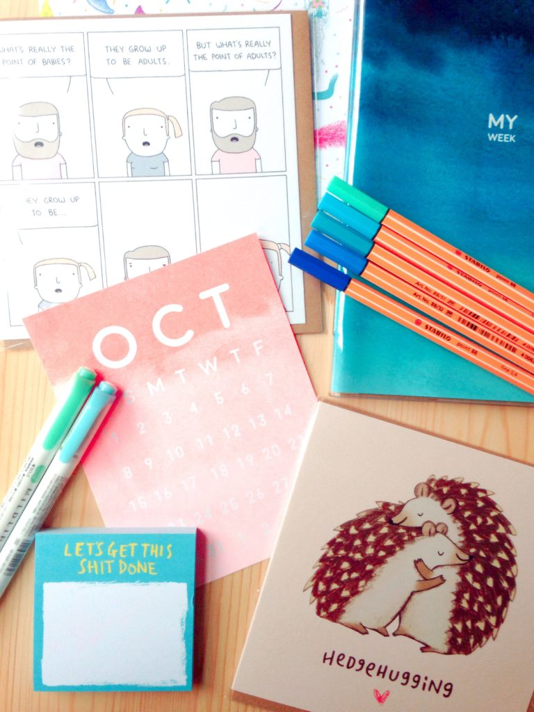 fun stationery greetings cards, post-it notes and planner from September's ombre themed Papergang stationery subscription box from Oh Deer