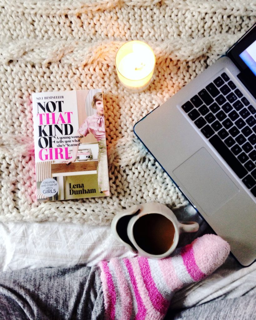 Autumn cosy weekend mornings in bed flatlay