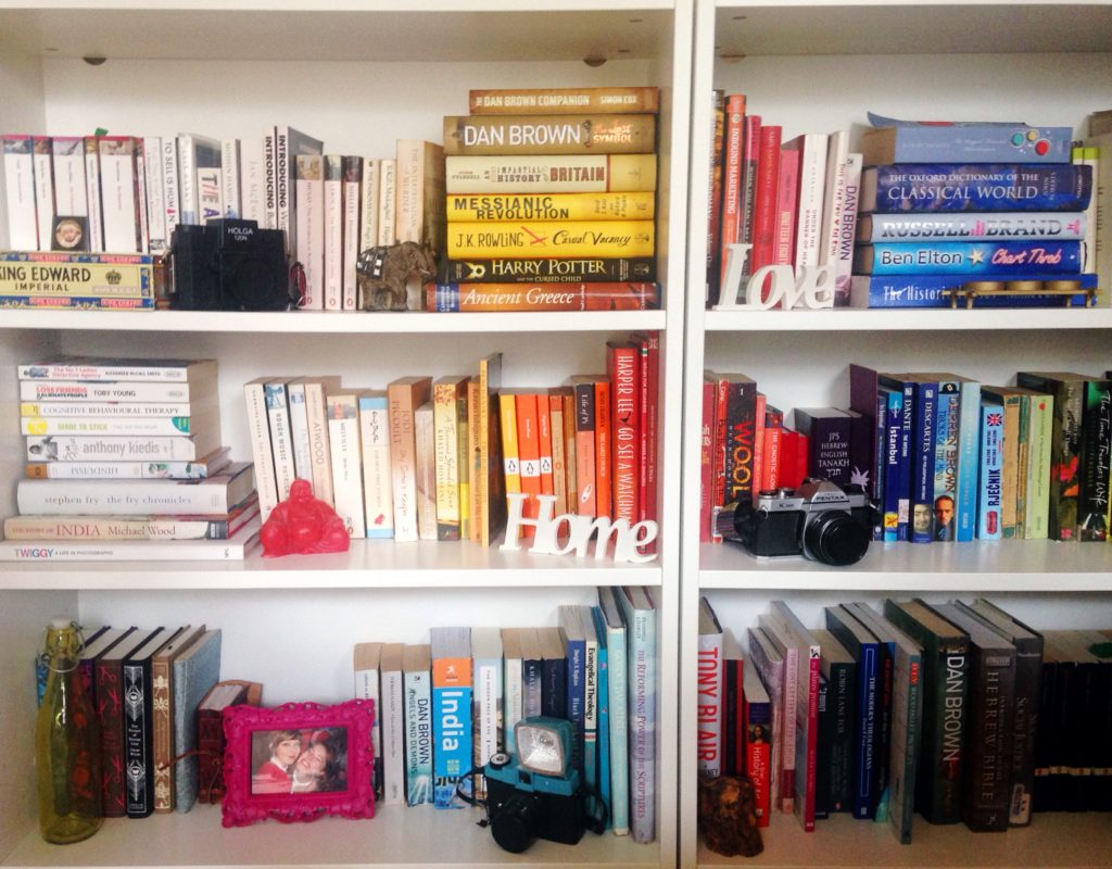 colourful-organised-bookcase-yellow-feather-blog-living-room-tour