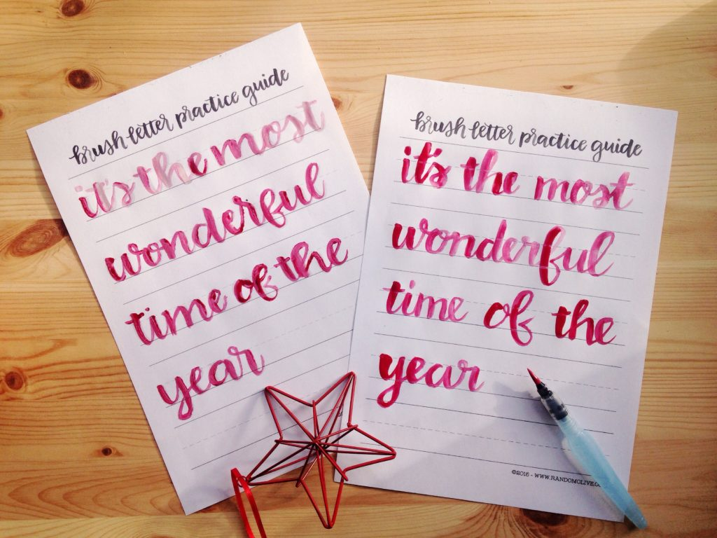 side-by-side-templated-phrase-and-my-attempt-without-guide-letters-yellow-feather-blog-christmas-brush-lettering-guide