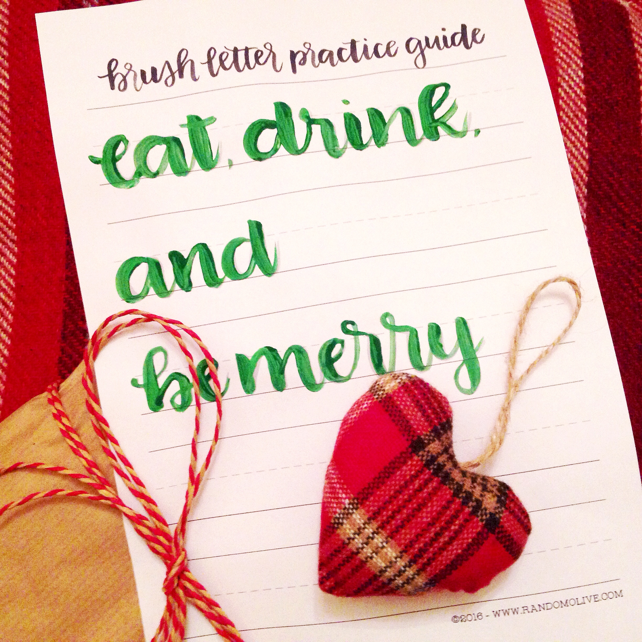 Completed eat drink and be merry brush letter practice guide yellow feather blog