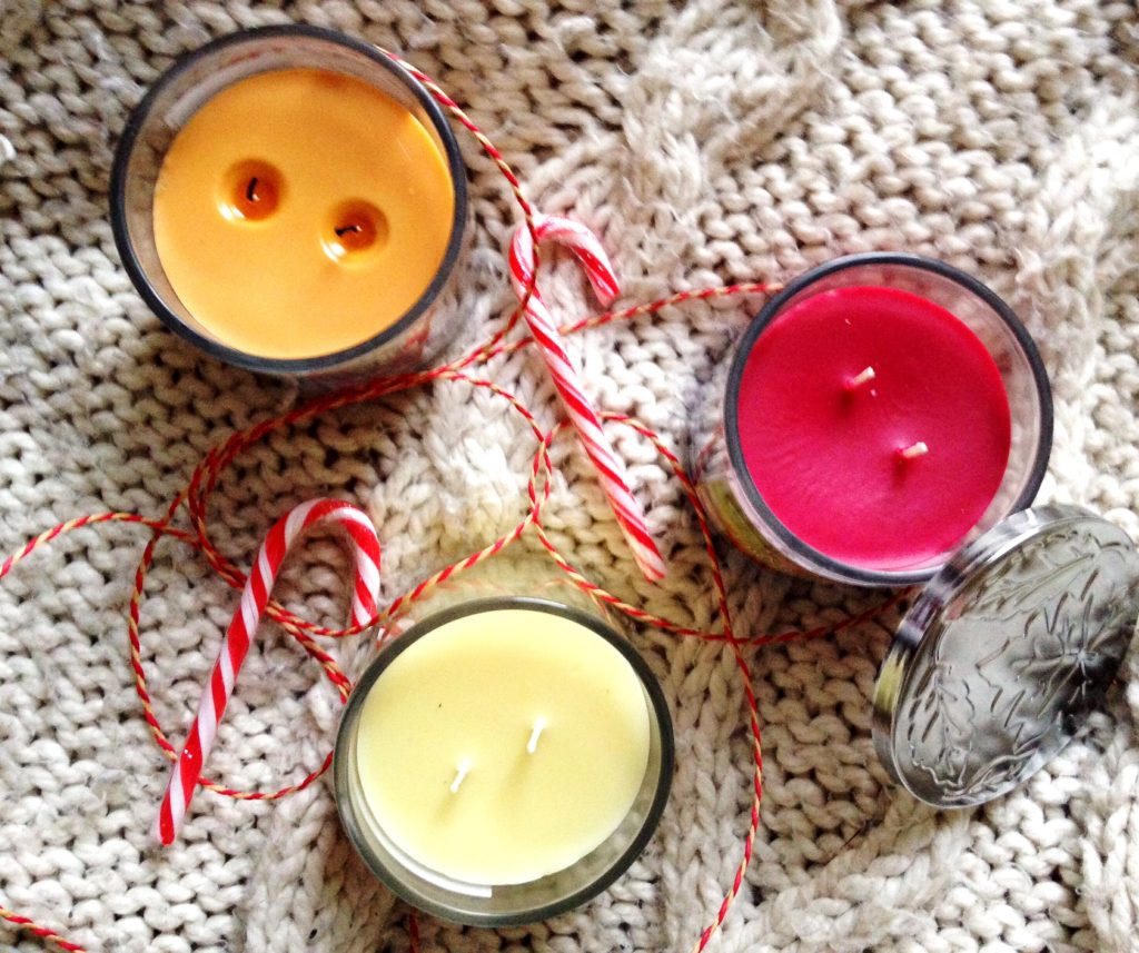 flatlay autumn scented candles b&m bargains yellow feather blog