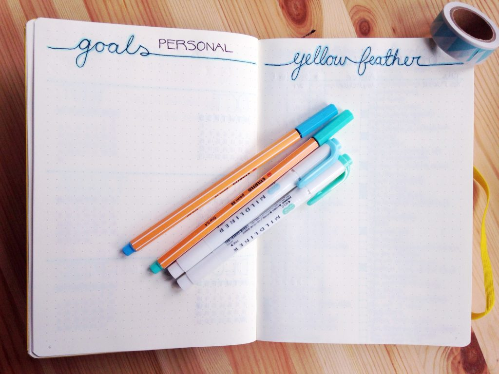 Goals tracker for 2017 minimalist bullet journal yellow feather blog bujo