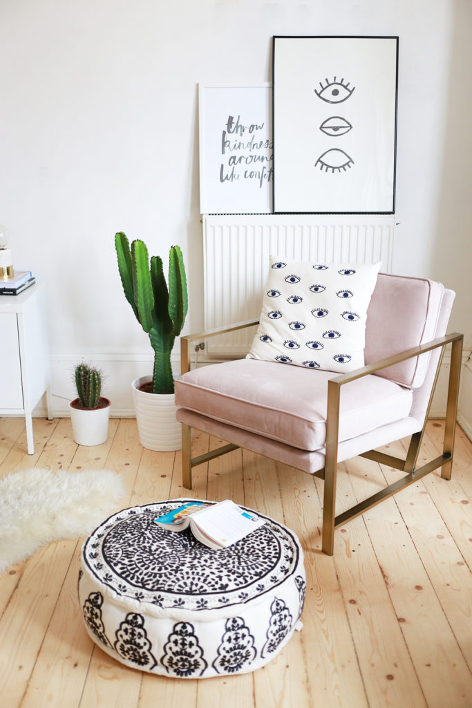 Blush pink living room chair