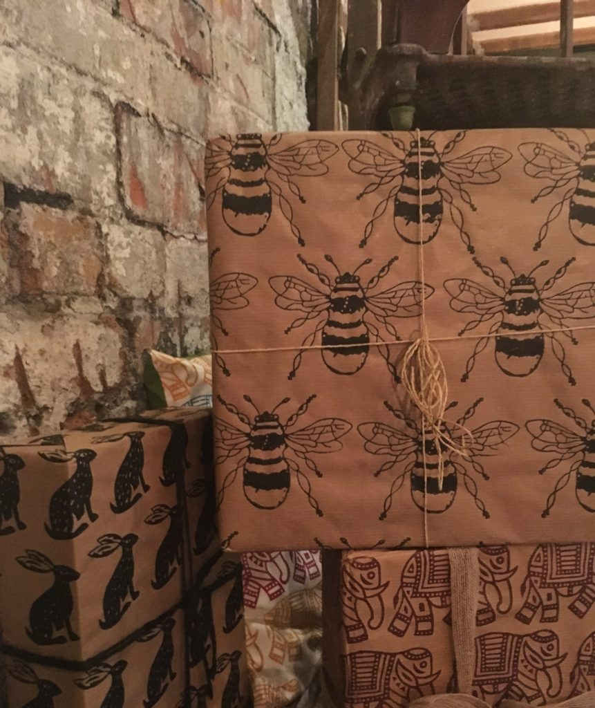 Examples of Indian block printed wrapping paper - The Handmade Fair Bristol PR launch Yellow Feather Blog