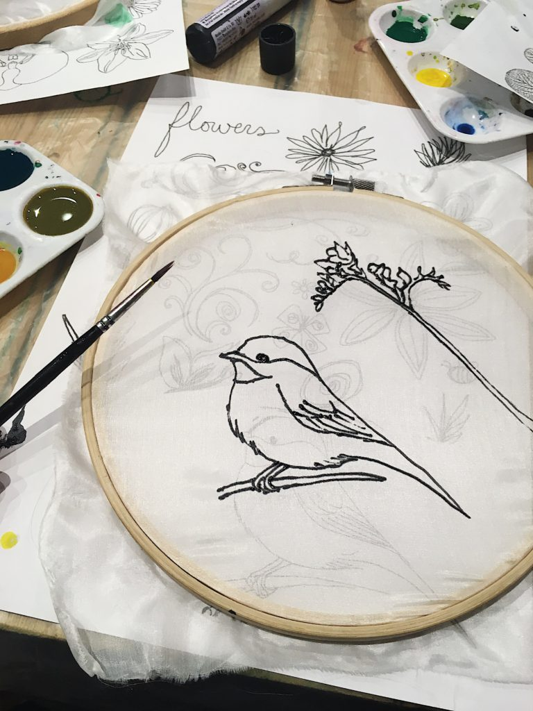 Learning delicate silk painting at The Handmade Fair Bristol PR launch Yellow Feather Blog