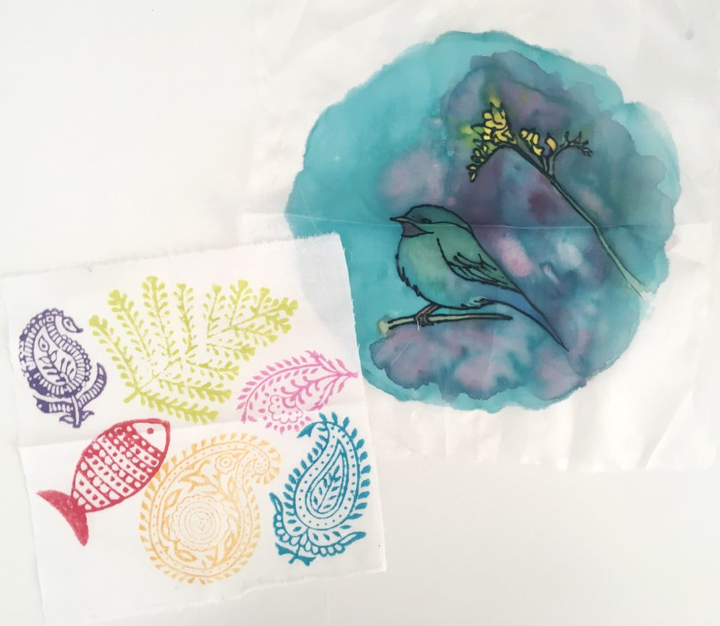My tester stamp fabric and silk painting - The Handmade Fair Bristol PR launch Yellow Feather Blog