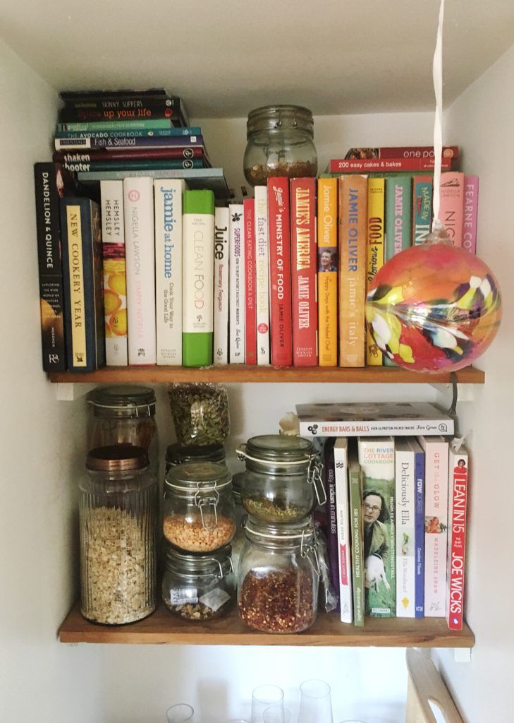 Kitchen tour yellow feather blog here you can see that we have a slight cook book obsession we also store our dried pulses and grains in kilner jars