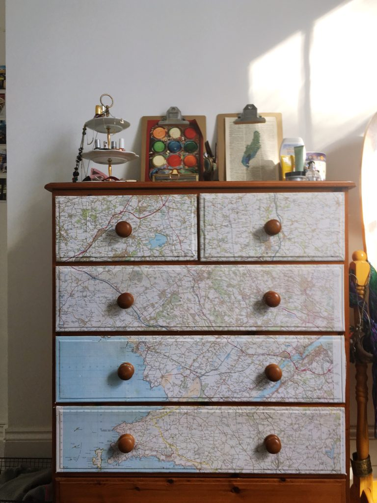 DIY-map-covered-chest-of-drawers-yellow-feather-blog-bedroom-tour